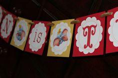 Dumbo Circus Birthday Banner by littleshoppeofpaper on Etsy