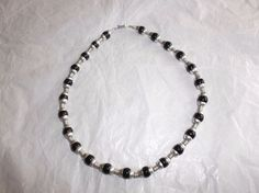 "Mexican Sterling Silver Tennis Necklace, Black Glass Beads, 19"" L, 3/8"" W, EUC #Unbranded"