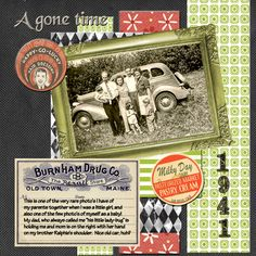 A gone time - vintage scrapbook layout CP Lovely! Layout by the talented Piradee Talvanna Heritage Scrapbook Pages, Vintage Scrapbook, Scrapbook Journal, Scrapbook Page Layouts, Scrapbook Paper Crafts, Scrapbook Albums, Scrapbook Cards, Scrapbooking Ideas, Old Family Photos