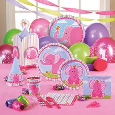 Pink elephant 1st birthday idea