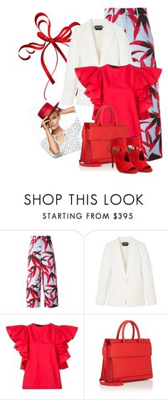 """""""red blouse"""" by amra83 ❤ liked on Polyvore featuring Marni, CO, Givenchy and Aquazzura"""