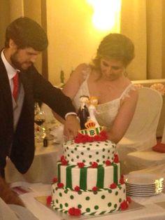 Tarta de #boda - Viva el #Betis -  #BodorrioFlamenco - Ideas originales