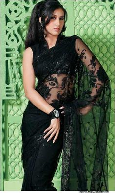 Buy Indian dresses online - the most fashionable Indian outfits for all occasions. Check out our new arrivals - the latest Indian clothes trending in Black Saree Designs, Saree Jacket Designs, Indian Dresses Online, Indian Clothes Online, Beautiful Saree, Stunning Dresses, Oriental Fashion, Indian Fashion, Black Net Saree
