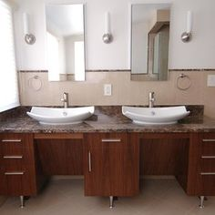 Fantastic  Fixtures Highlight This Vanity In This South Austin TX Bathroom