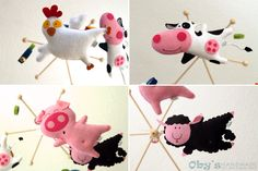 Felt baby mobile with farm animals handmade, felt chicken, felt cow, felt pig, felt sheep. #babymobile #cribmobile #feltmobile #obyshandmade