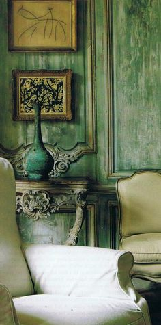 Belgiun Castle Rozenhout with original gray green paint finish intact - Grand Salon c.1790