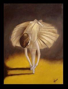 Niña preparandose para curso de ballet - Óleo sobre tela - 50x70
