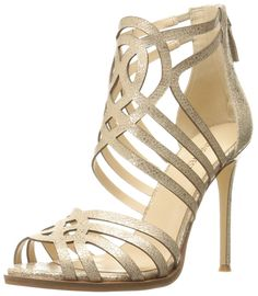 Nine West Women's Hartthrob Metallic Heeled Sandal, Light Natural, M US Long Boots, High Heels Stilettos, Gladiator Sandals, Nine West, Metallic, Amazon, Brown, Stuff To Buy, Natural