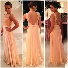 2014 Cheap Straight High Neckline Backless Lace Chiffon Evening Dresses