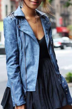 Punk Turn-Down Neck Long Sleeve Studded Women's Jacket