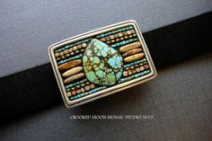 Picture Jasper and Turquoise Bohemian Style Belt Buckle and Leather Belt by Crooked Moon Mosaic Studio