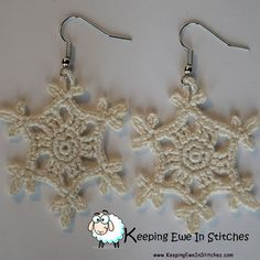 These gorgeous Snowflake Earrings are so delicate and beautiful. They will look amazing paired with your favorite cozy sweater! Crochet with 100% Egyptian cotton and hypoallergenic Stainless Steel earring hooks.  The Ivory Snowflake earring is a charming
