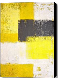 "$142.26 18.38""x24"" canvas print grey and yellow abstract art 