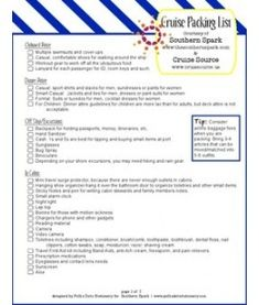 Cruise Packing Checklist Page 1/2