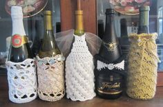 Crochet+Wine+Bag+Pattern | Four Crocheted Wine Gift Bag PDF Patterns