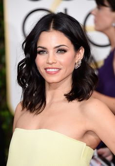Golden Globes 2015 Red Carpet Beauty: Jenna Dewan Tatum  #brunette #bob #lob #waves #makeup