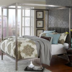 I WANT this!!!Refresh your master suite or guest room with this chic canopy bed,