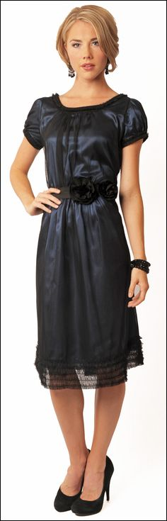 Take the length to the floor. The navy under the black is stunning. Evelyn dress -- Modest dresses  www.sierrabrooke.com  $92.00