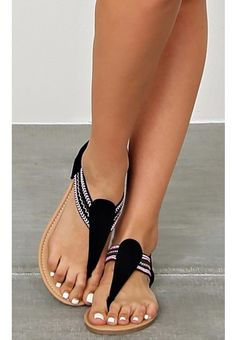 Tribal Black T Strap Sandals