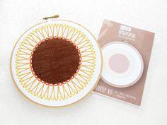 Sunflower Needlework Pattern, Pre Printed Fabric Embroidery Pattern, Flower Hoop Art, DIY Summer Decor, Crafters Gift, Summer Wedding Kit