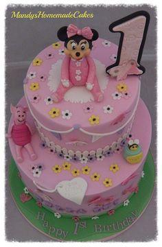 2 tier Baby Minnie & Piglet Birthday Celebration Cake