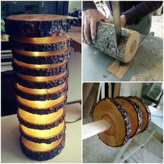 Have a look to this tutorial to make a spectacular wood lamp with tree logs! in Spanish... MATERIALS: Wooden piece 40 cm Plexy piece tube 30 cm long and 4 cm wide Wood glue Varnish Brush piece of 5 cm 200 cm LED light (yellow) LED light adapter Saw blade Hammer cloves Drill sander plexi tube