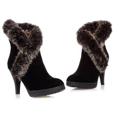 high heel nubuck leather rabbit fur warm women boots autumn winter fashion sexy shoes