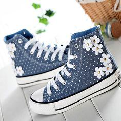 Cute dot flowers canvas shoes casual shoes