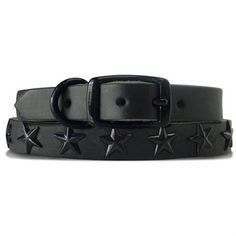 Platinum Pets - Black Genuine Leather Dog Collars with Black Stars available at www.ZoePetSupply.com