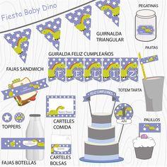 Imprimible Dinosaurio Lila  #Fiesta #cumpleaños #printables #niños #etiquetas #plantillas #niños Map, Straws, Chopsticks, Garlands, Happy Birthday, Stencils, Printables, Tags, Lilac