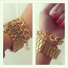 Gold chain bracelet with gold anchor - Boardwalk Bracelet, O My Heart!