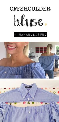 30 Awesome Photo of Sewing Upcycled Clothing Easy Diy Sewing Upcycled Clothing Easy Diy Offshoulder Bluse Selbermachen Diy Mit Nhanleitung Und Bildern Diy Kleidung Upcycling, Diy Vetement, Diy Mode, Refashioning, Creation Couture, Sewing Projects For Beginners, Diy Shirt, Shirt Refashion, Sewing Hacks