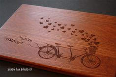 Bicycle Built For Two, Personalized Cutting Board, Wood Cutting Board, Mothers…