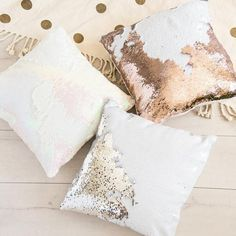 Buy Online Lustrous Gold Color Changing Mermaid Sequin Pillow at theankit.com
