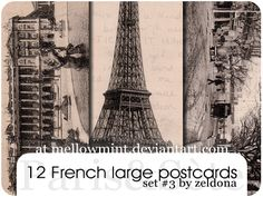 12 large French postcards. 
