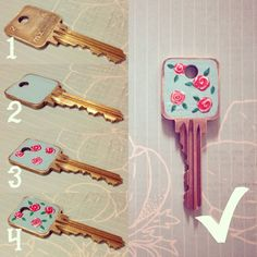 DIY: Lacquered Vintage Rose Key http://carlasdeleon.blogspot.ca/2013/03/diy-vintage-rose-key.html