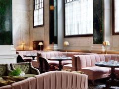 hotel lounge The more traditional Millies Lounge, with low-slung pink banquettes. Commercial Design, Commercial Interiors, Commercial Lighting, Le Palace, Restaurants, Hotel Lounge, Banquette Seating, Restaurant Interior Design, Design Hotel