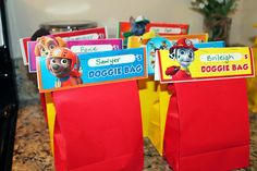 Paw Patrol Birthday party bags! Super easy print off of Nick jr.com and staple or glue to your bags