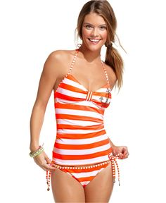 Hobie Swimsuit, Halter Striped Studded Tankini Top & Side Tie Striped Brief Bottom - Womens Swim - Macy's $20 each