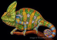 Jemenkameleon gekleurd potlood tekening door TimJeffsArt op Etsy https://www.etsy.com/nl/listing/266356148/jemenkameleon-gekleurd-potlood-tekening