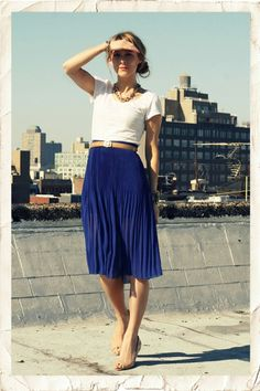 Love this. Need a good basic white tee and a pretty pleated skirt (bonus points if it's cobalt blue)
