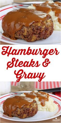 Hamburger Steaks and Gravy are made with seasoned ground beef patties, peppers, onion and are simmered in a deliously thick brown gravy! Hamburger Steaks and Gravy - Hamburger Steaks and Gravy recipe from The Country Cook Hamburger Steaks, Hamburger Steak Recipes, Beef Meals, Hamburger Dishes, Beef Welington, Sirloin Recipes, Beef Sirloin, Beef Tenderloin, Country Cooking