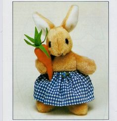 "Vintage Chart Sewing Pattern Manual PDF to make A Bunny Rabbit with Carrot Approx 12"" Stuffed Soft Body Cloth Toy A Manual Digital Download"