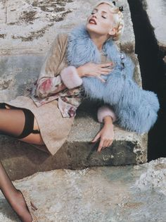 Nadja Auermann photographed by Helmut Newton for Blumarine Fall / Winter 1994