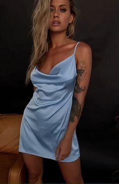Encore Cowl Neck Split Dress Blue - Source by - Satin Dresses, Tight Dresses, Silk Dress, Sexy Dresses, Blue Dresses, Short Dresses, Fashion Dresses, Blue Satin Dress, Jolie Lingerie