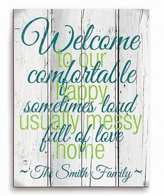 This Blue & Green Personalized Welcome Sign is perfect! #zulilyfinds