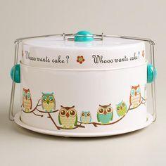 Canavello Mrasek Henderson Vacha Whooo Wants Cake? Owl Cake Carrier at Cost Plus World Market >> Owl Owl Cakes, Cupcake Cakes, Ladybug Cakes, Fruit Cakes, Mini Cupcakes, Kitsch, Owl Kitchen, Kitchen Stuff, Kitchen Items