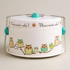 Whooo Wants Cake? Owl Cake Carrier at Cost Plus World Market >> #WorldMarket Owl