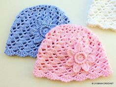 Looking for your next project? You're going to love Crochet Baby Hats With Flower by designer Lyubava Crochet. - via @Craftsy