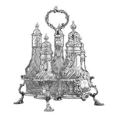 A complete and fully hallmarked George III-period silver cruet service in the Warwick form by Huguenot silversmith John Delmestre. Huguenot silversmiths working in London during the late 17th through the mid-18th centuries produced some of the most magnificent domestic silver ever created. The discreet asymmetrical elements chased throughout this cruet set reflect the French influence these gifted craftsmen integrated into English silver design.  The stand is engraved with the Earl's coronet
